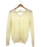 ユニクロ UNIQLO カシミヤ100% ニット 長袖 セーター トップス Vネック ホワイト L