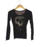 ヒステリックグラマー HYSTERIC GLAMOUR カットソー Tシャツ 長袖 スカル イチゴ ブラック 黒 FREE