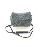 ファロルニ FALORNI ITALIA ショルダーバッグ クラッチバッグ 2way レザー 編み込み チェーン 鞄 ネイビー系