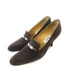 セリーヌ CELINE パンプス スウェード ロゴプレート 靴 シューズ ブラウン 36