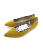 ユニクロ UNIQLO ポインテッドフラットシューズ スウェード パンプス 靴 マスタード 24.5cm