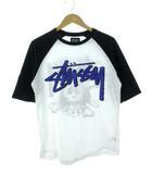 ステューシー STUSSY Tシャツ クロスボーン スカル プリント ラグラン 白 黒 S