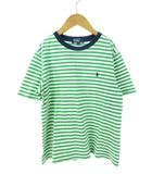 ポロ バイ ラルフローレン Polo by Ralph Lauren Tシャツ ボーダー ワンポイント カットソー グリーン×ホワイト 子供服 130