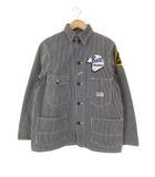 ザリアルマッコイズ THE REAL McCOY'S カバーオール ヒッコリー ワークジャケット ワッペン 刺繍 761J ネイビー 36