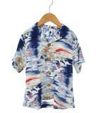 エムピーエス MPS アロハシャツ 総柄 オープンカラーシャツ 半袖 トップス ブルー 120cm