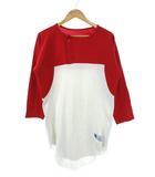 ラッセル RUSSELL 80's 90's ベースボール Tシャツ ヘンリーネック USA製 七分袖 OLD 白 赤 M