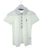 バーバリーブルーレーベル BURBERRY BLUE LABEL ポロシャツ 刺繍ロゴ ストレッチ 白 ホワイト 38