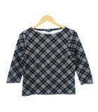 バーバリー ロンドン BURBERRY LONDON Tシャツ カットソー ノバチェック 七分袖 ブラック size2
