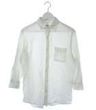 コーエン coen シャツ 七分袖 トップス 刺繍 リネン混 オフホワイト L