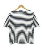 セントジェームス SAINT JAMES バスクシャツ Tシャツ ボーダー 半袖 生成り ネイビー M