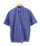 エディーバウアー EDDIE BAUER ボタンダウン シャツ チェック柄 半袖 ネイビー系 XS