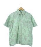 クロコダイル CROCODILE シャツ 半袖 トップス ヤシの木 花柄 グリーン L