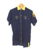 ヴィンテージ VINTAGE del roy 60's ボーリングシャツ 半袖 刺しゅう ワッペン ヴィンテージ ネイビー S