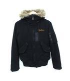 N2-B フライトジャケット メルトン ウール ファー付き ミリタリー ブラック FREE