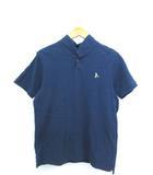 鹿の子 ショールカラー ポロシャツ 半袖 トップス ネイビー M