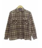 ペンドルトン PENDLETON 60's ウールシャツ 開襟シャツ 長袖 ヴィンテージ チェック ブラウン M