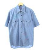 ブルーブルー BLUE BLUE シャンブレーシャツ 蝶々 フラワー ペイント 半袖 3 L