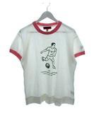 エヴィス EVISU ヤマネ YAMANE Tシャツ サッカー プリント ホワイト ピンク 38