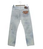 リーバイス Levi's 501 ホワイトジーンズ デニムパンツ リペア ペイント フラッシャー付き ホワイト ブルー W32