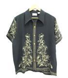 ヒューストン HOUSTON アロハシャツ 半袖 トップス 花柄 シルク ブラック L