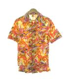 70's 総柄シャツ 半袖 ハワイワン ヴィンテージ オレンジ L