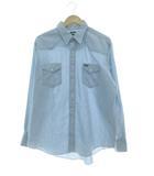 80's シャンブレーシャツ 紺タグ USA製 長袖 ライトブルー 17.5