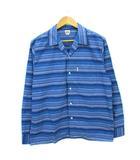 クーティー COOTIE オープンカラーシャツ マルチカラー ボーダー 開襟シャツ ブルー L