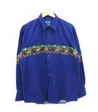 ラングラー WRANGLER 90's ウエスタンシャツ ロデオ ネイティブ柄 プリント オールド ネイビー