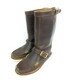 ユケテン yuketen バックジップブーツ Pull On Boots エンジニアブーツ 牛革 カウレザー スネークブーツ Vibramソール ブラウン 6