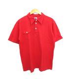 ポストオーバーオールズ  POST O'ALLS ポロシャツ 日本製 ネコ目ボタン 赤 レッド S