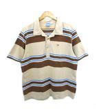 オーシャンパシフィック OCEAN PACIFIC OP SUNWEAR 80's ポロシャツ ボーダー 刺繍ロゴ ヴィンテージ ベージュ ブラウン M