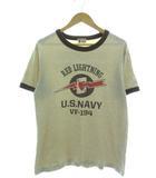 バズリクソンズ BUZZ RICKSON'S RED LIGHTNING リンガーTシャツ 半袖 カットソー トップス ベージュ L