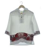 ヴィンテージ VINTAGE イオラニ IOLANI 70's アロハシャツ プルオーバー 7分袖 スキッパー ホワイト S
