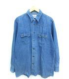 90's デニム サドルマンシャツ ウエスタン 長袖 日本製 ブルー L