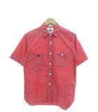 エフオービーファクトリー FOB FACTORY シャンブレーシャツ 半袖 ワークシャツ 日本製 マチ付き レッド M