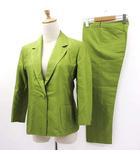 マックスマーラ MAX MARA セットアップ スーツ パンツ クロップド シングル テーラード ライトグリーン 黄緑 38
