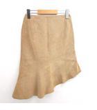 グレース GRACE 美品 スカート ひざ丈 アシンメトリー ペプラム 豚皮 ベージュ 36