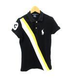 ラルフローレン RALPH LAUREN GOLF 美品 ポロシャツ 半袖 スナップ ロゴマーク ブラック 黒 S