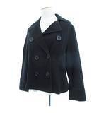 自由区 オンワード樫山 美品 ジャケット コート ショート丈 ダブルボタン ブラック 黒 44 L