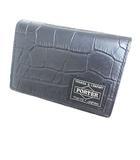 ヘッドポーター HEAD PORTER 美品 名刺入れ カードケース クロコ型押し ブラック 黒