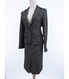 イネド INED スーツ スカート 膝丈 シングル ツイード グレー 9