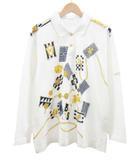 レオナール LEONARD SPORT ポロシャツ カットソー 鹿の子 総柄 ロゴ 7分袖 コットン 100% 白 ゴールド size L ○