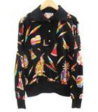 レオナールスポーツ LEONARD SPORT ポロシャツ 総柄 インディアン 長袖 リブ コットン 100% 黒 ブラック マルチ size M IBS5