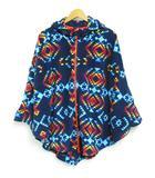 コロンビア Columbia ポンチョ ジャケット フリース フード トライバル柄 オルテガ柄 紺 M ◆NK-16813 ◆01