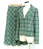 ホコモモラデシビラ Jocomomola de Sybilla セットアップ スカート スーツ ロング ストレッチ チェック ジャガード 緑 40 38 ◆NK-20088 ◆01