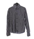 ドット柄 ボタンダウンシャツ トップス 長袖 XS ネイビー/ホワイト 紺 白 881-8061