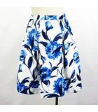 ストロベリーフィールズ STRAWBERRY-FIELDS スカート ボトムス ひざ丈 タックフレア 花柄 1 ブルー系 ※EKM