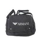 ARMANI BABY アルマーニ ベビー マザーズバッグ ショルダーバッグ 斜め掛け メッセンジャー ロゴ 刺繍 黒 ブラック 鞄