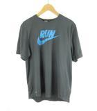 ナイキ NIKE Tシャツ 半袖 RUN ランニング ジョギング DRY-FIT スウォッシュ グレー 青 ブルー スポーツ L 美品