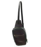 ポールスミス PAUL SMITH ボディバッグ ワンショルダー 斜め掛け レザー 革 ダークグリーン 深緑 パープル 紫 ゴールドファスナー 美品 鞄